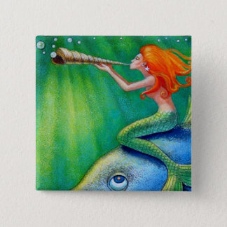 Toot Yur Own Seashell- Mermaid! 15 Cm Square Badge