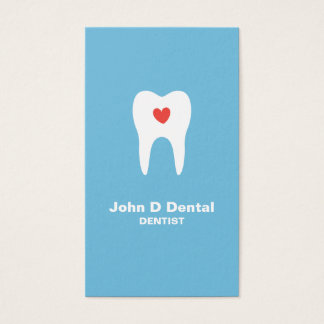 Tooth and heart blue dental dentist business card