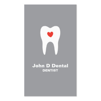 Tooth and heart gray dental dentist business card