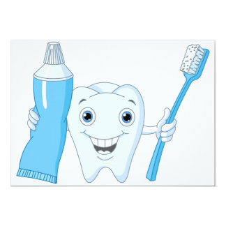 "Tooth And Toothbrush Invitations 5"" X 7"" Invitation Card"