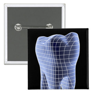 Tooth, computer artwork of a molar tooth 15 cm square badge