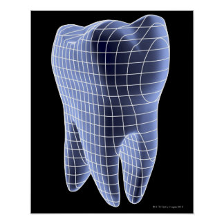 Tooth, computer artwork of a molar tooth poster
