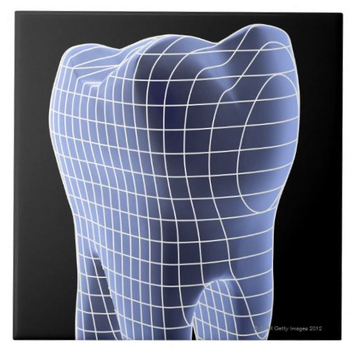 Tooth, computer artwork of a molar tooth ceramic tiles