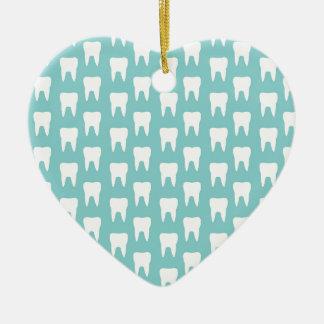 Tooth Fairy #1 - Blue Teeth Ceramic Heart Decoration