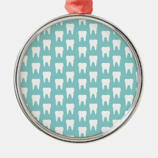 Tooth Fairy #1 - Blue Teeth Silver-Colored Round Decoration