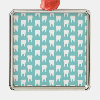 Tooth Fairy #1 - Blue Teeth Silver-Colored Square Decoration