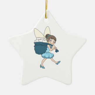 TOOTH FAIRY AT WORK Double-Sided STAR CERAMIC CHRISTMAS ORNAMENT