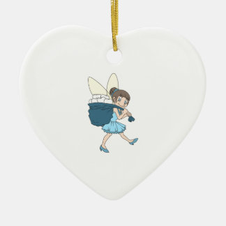 TOOTH FAIRY AT WORK Double-Sided HEART CERAMIC CHRISTMAS ORNAMENT