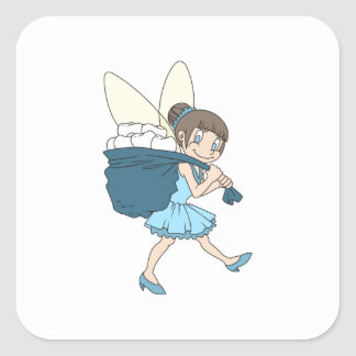 TOOTH FAIRY AT WORK SQUARE STICKER