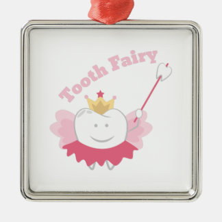 Tooth Fairy Silver-Colored Square Ornament