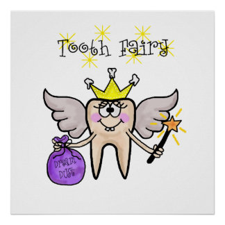 Tooth Fairy Funny Cartoon Poster  Customize It!