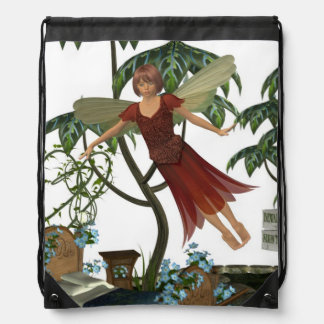 Tooth Fairy in Flight Drawstring Backpacks