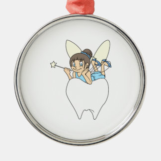 TOOTH FAIRY ON MOLAR ROUND METAL CHRISTMAS ORNAMENT