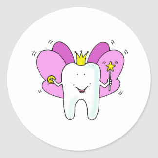 Tooth fairy princess congratulations. round sticker