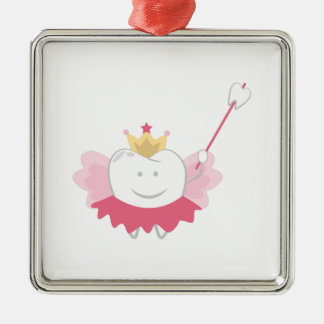 Tooth Fairy Silver-Colored Square Decoration