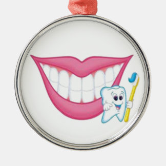tooth fairy smile Silver-Colored round decoration
