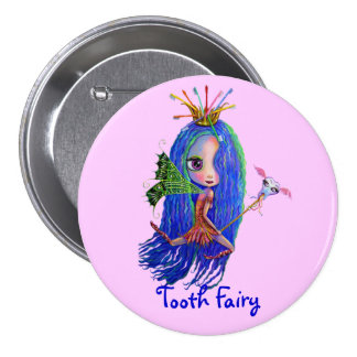 Tooth Fairy with Toothbrush Crown 7.5 Cm Round Badge