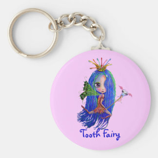 Tooth Fairy with Toothbrush Crown Big Eyes Basic Round Button Key Ring