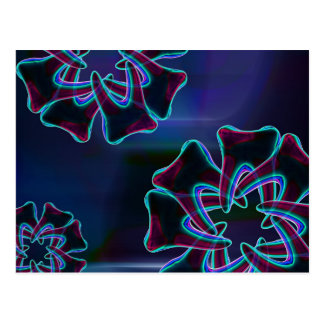 Tooth Flower Design Blue Dental Art Postcard