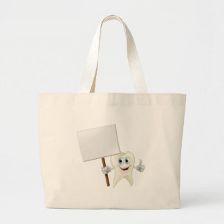 Tooth man holding a sign bags