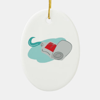 Tooth Paste Double-Sided Oval Ceramic Christmas Ornament
