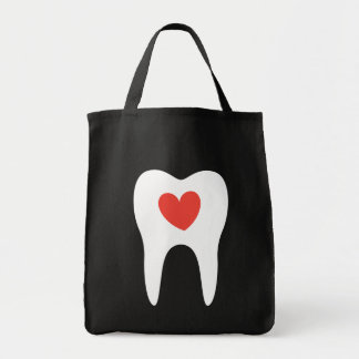 Tooth silhouette love heart dentist dental bag