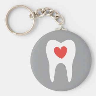 Tooth silhouette love heart dentist dental key ring