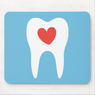 Tooth silhouette love heart dentist dental mouse pad