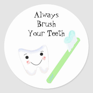 Toothbrush and Tooth Cute Dental Reminder Classic Round Sticker