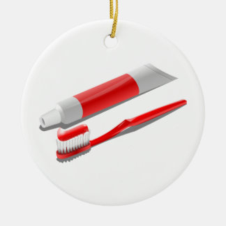 Toothbrush And Toothpaste Christmas Ornament
