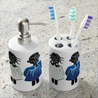 Toothbrush Holder and Soap dispenser by Rose Hill
