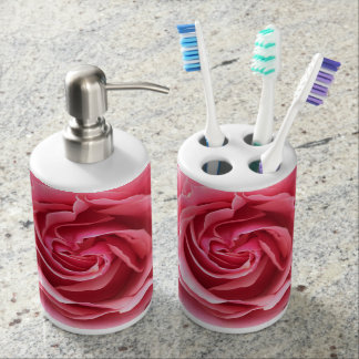 Toothbrush Holder and Soap Dispenser pink rose