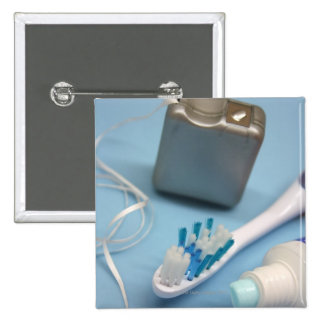 Toothbrush, toothpaste and floss. 15 cm square badge
