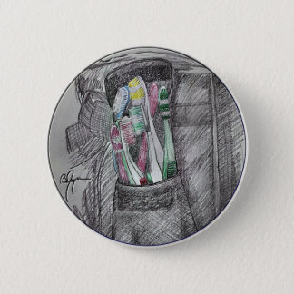 Toothbrushes 2 6 cm round badge