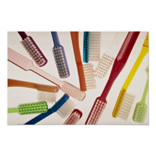 Toothbrushes in different colors and shapes print