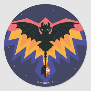 Toothless Coloured Flight Graphic Classic Round Sticker