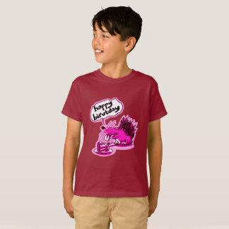 toothy hedgehog says happy birvtday funny cartoon T-Shirt