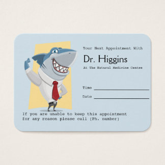 Toothy Smiling Shark Dentist Appointment Reminder Business Card