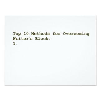 Top 10 Methods for Overcoming Writer's Block 11 Cm X 14 Cm Invitation Card