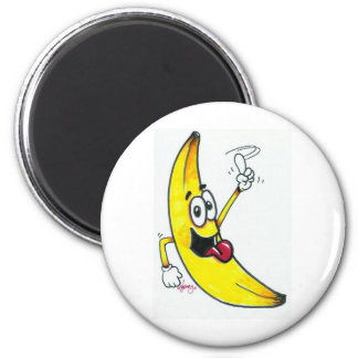 Top Banana, dancing banana cartoon 6 Cm Round Magnet