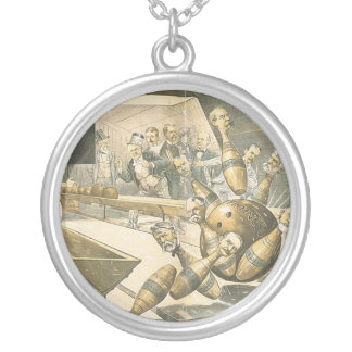 TOP Bowling Old School Round Pendant Necklace