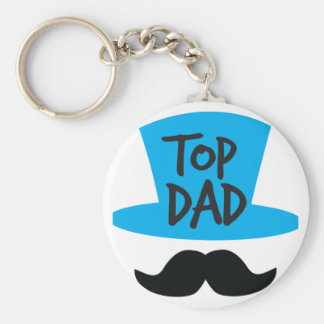 TOP DAD top hat and moustache Basic Round Button Key Ring
