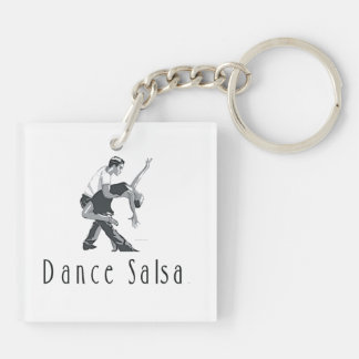 TOP Dance Salsa Double-Sided Square Acrylic Key Ring