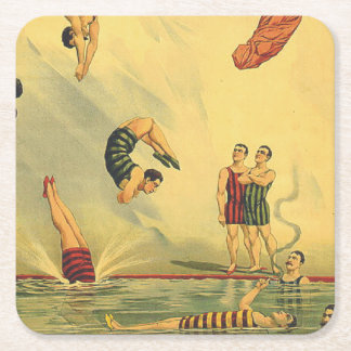 TOP Diving Old School Square Paper Coaster