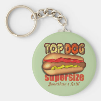 Top Dog Hotdog Personalized Basic Round Button Key Ring