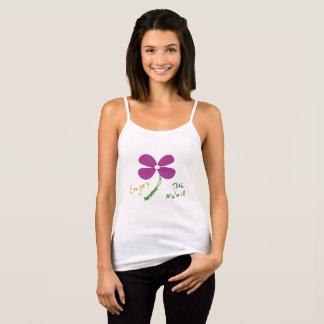 Top Feminino Branco tema flores