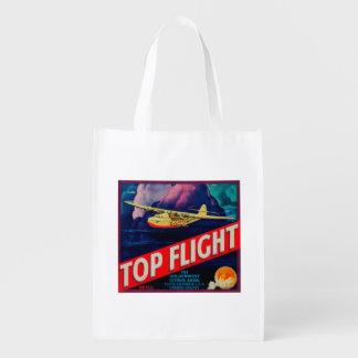 Top Flight Orange LabelTustin, CA Reusable Grocery Bag