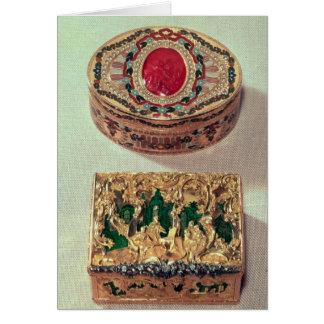 Top: Gold snuffbox inlaid with various stones Card