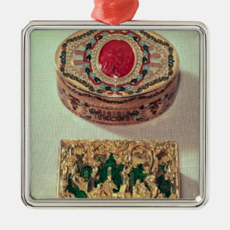 Top: Gold snuffbox inlaid with various stones Christmas Ornament