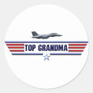 Top Grandma Logo Classic Round Sticker